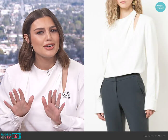 Chalky Drape Tie Blouse by Tibi worn by Carissa Loethen Culiner  on E! News