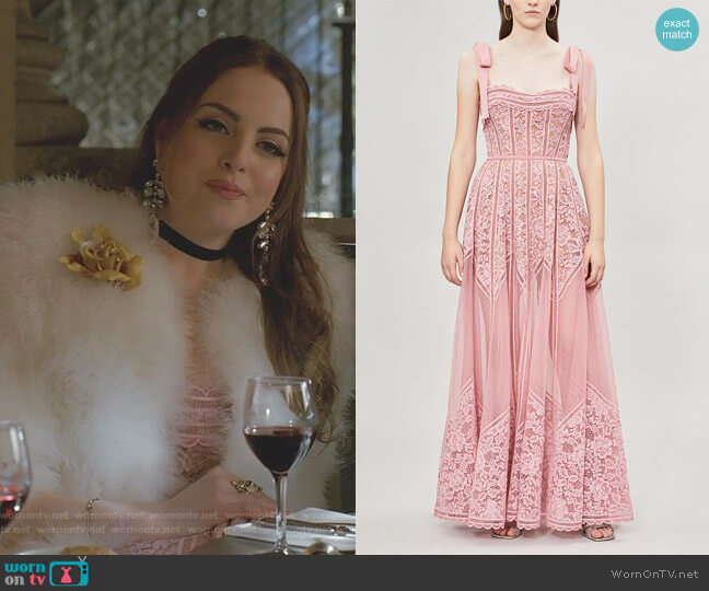 Tie-Shoulder Lace and Mesh Gown by Elie Saab worn by Fallon Carrington (Elizabeth Gillies) on Dynasty