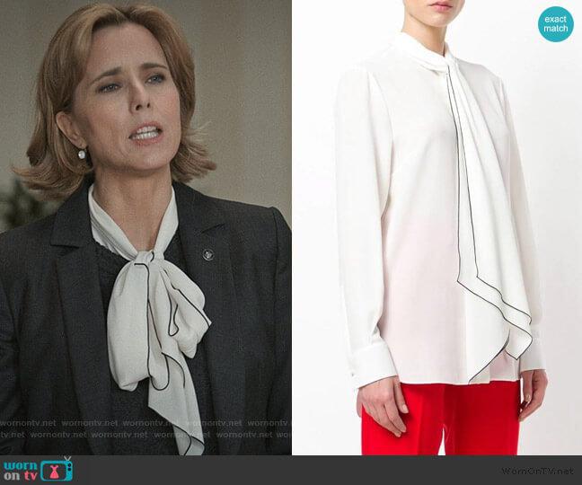 Tied Neck Blouse by Alexander McQueen worn by Elizabeth McCord (Téa Leoni) on Madam Secretary