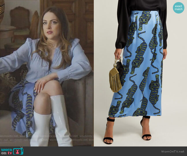 Tiger-Print Silk Wrap Skirt by Rebecca de Ravenel worn by Fallon Carrington (Elizabeth Gillies) on Dynasty