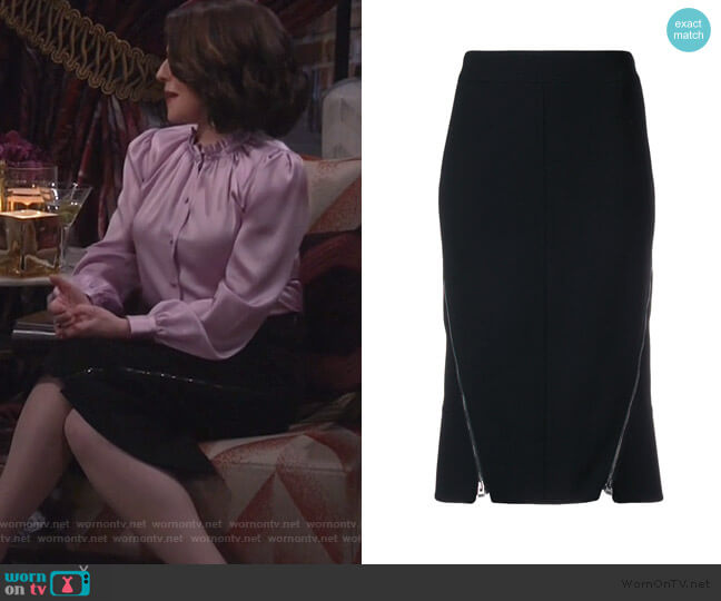 zipped pencil skirt by Tom Ford worn by Karen Walker (Megan Mullally) on Will & Grace
