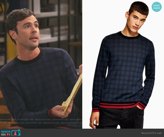 Lightweight Check Sweater by Topman worn by Blake Lee on Fam