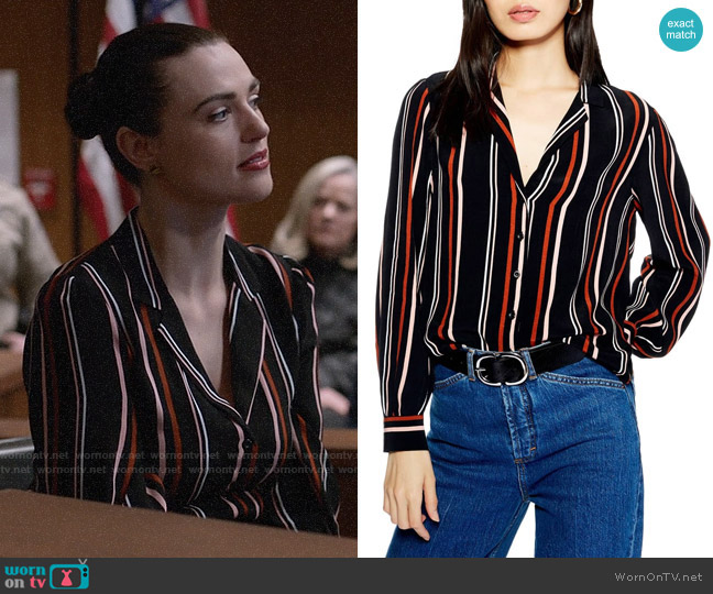 Topshop Jessica Print Shirt worn by Lena Luthor (Katie McGrath) on Supergirl