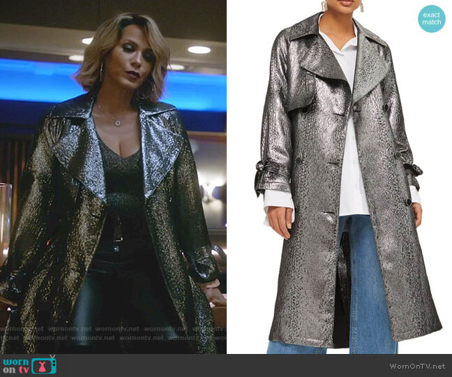 Metallic Trench Coat by Topshop worn by Giselle (Nicole Ari Parker) on Empire