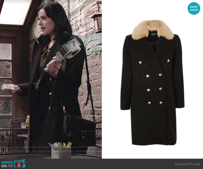 Topshop Nina Faux Fur Collar Double Breasted Coat worn by Tessa Porter (Cait Fairbanks) on The Young & the Restless