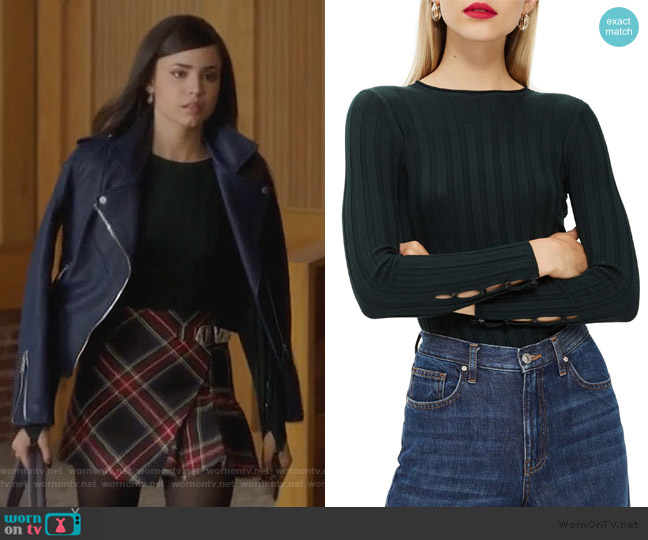 Ribbed Sweater by Topshop worn by Ava Jalali (Sofia Carson) on PLL The Perfectionists