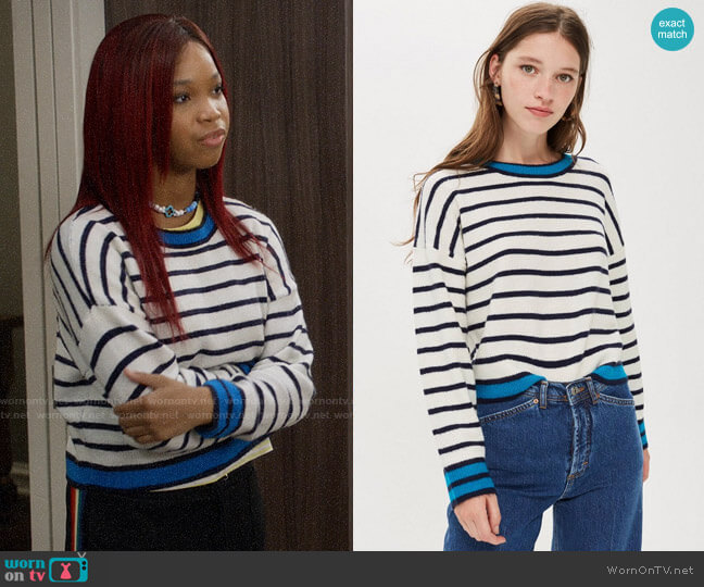 Topshop Stripe Jumper worn by Kyra on Black-ish