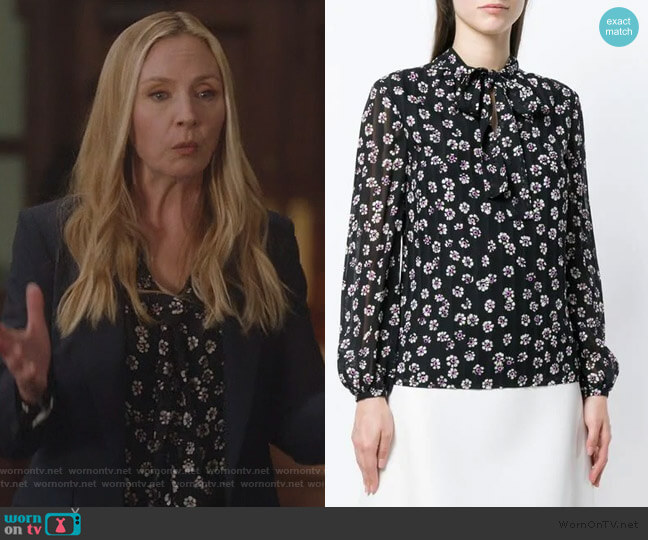 Emma bow blouse by Tory Burch worn by Jill Carlan (Hope Davis) on For the People