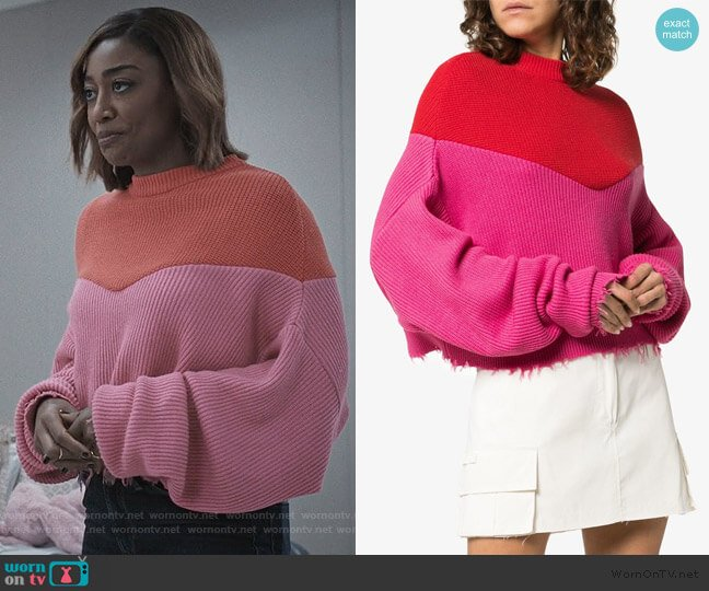 Distressed Hem Extended Sleeve Jumper by Unravel Project worn by Daisy Grant (Patina Miller) on Madam Secretary