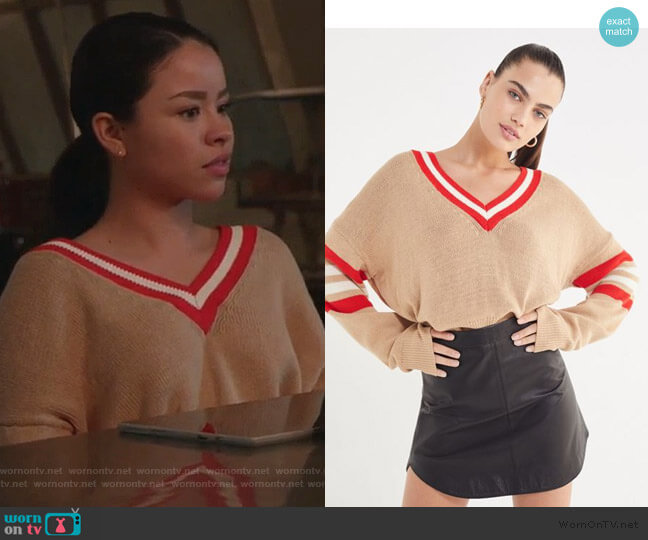 Kristen V-Neck Varsity Sweater by Urban Outfitters worn by Mariana Foster (Cierra Ramirez) on Good Trouble