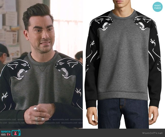 Two-Tone Panther Sweatshirt by Valentino worn by David Rose (Daniel Levy) on Schitts Creek