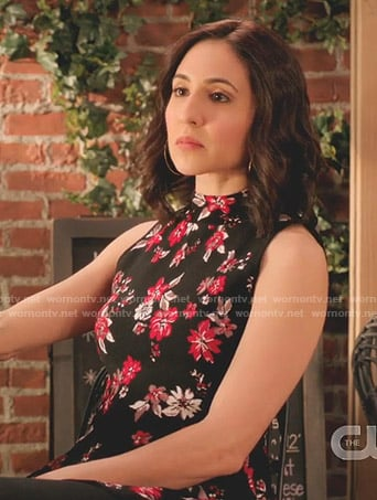 Valencia's black floral peplum top on Crazy Ex-Girlfriend