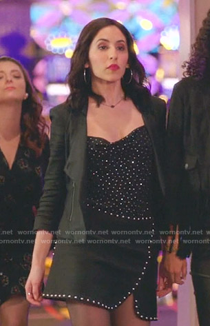 Valencia's black rhinestone cami and studded skirt on Crazy Ex-Girlfriend
