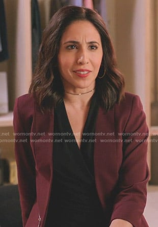 Valencia's maroon zip pocket jacket on Crazy Ex-Girlfriend