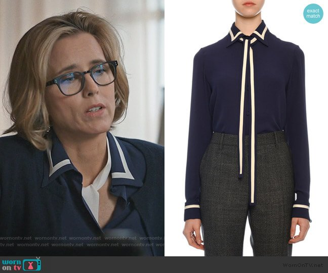 Contrast-Striped Georgette Button-Front Blouse with Neck Tie by Valentino worn by Elizabeth McCord (Téa Leoni) on Madam Secretary