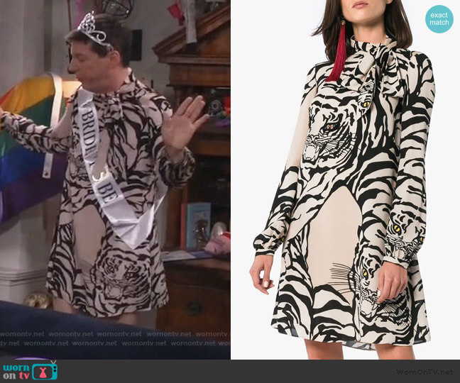 Tiger Print Dress by Valentino worn by Jack McFarland (Sean Hayes) on Will & Grace