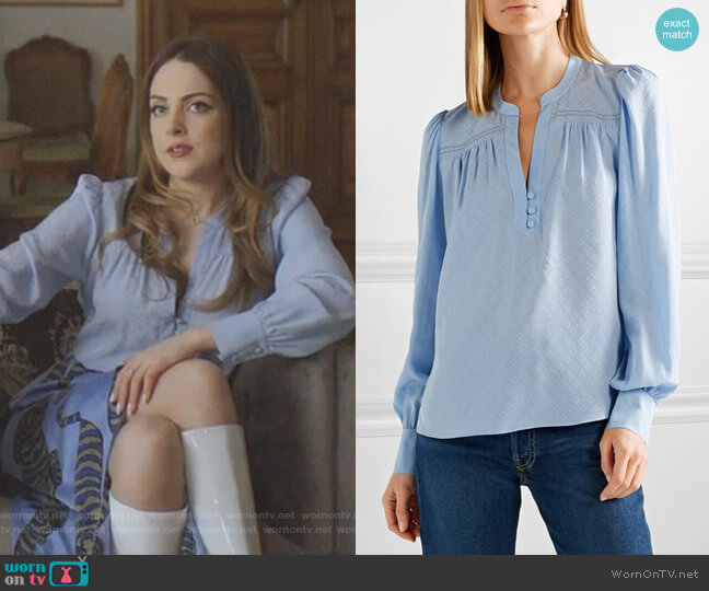 Abbie Blouse by Veronica Beard worn by Fallon Carrington (Elizabeth Gillies) on Dynasty