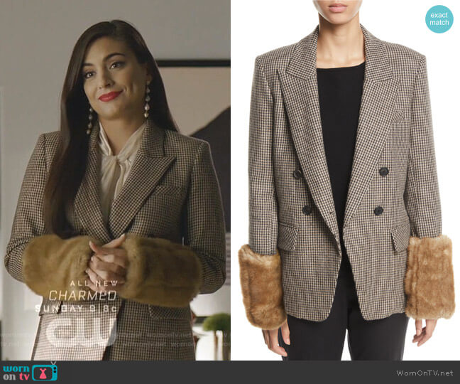 Fahey Dickey Jacket with Faux-Fur Cuffs by Veronica Beard worn by Cristal Jennings (Daniella Alonso) on Dynasty