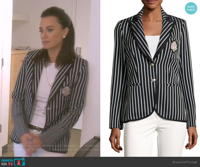 Spirit Striped Pique Blazer by Veronica Beard worn by Kyle Richards  on The Real Housewives of Beverly Hills
