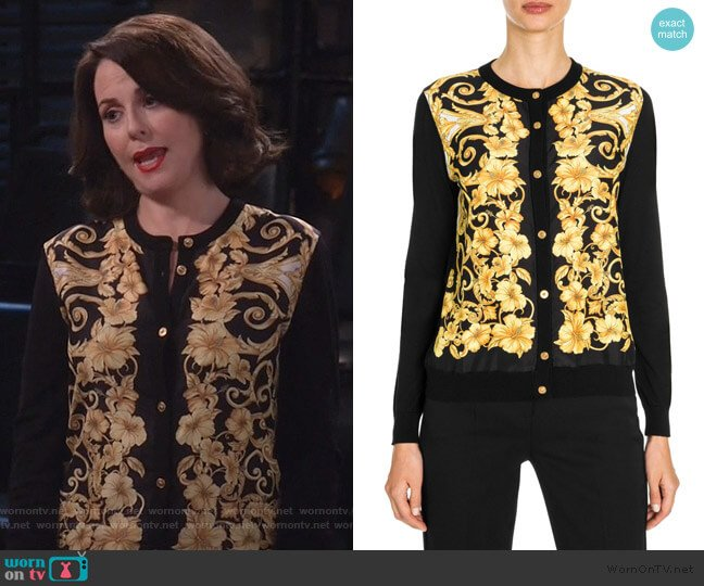 Hibiscus-Print Silk-Front Button-Down Cardigan by Versace worn by Karen Walker (Megan Mullally) on Will & Grace