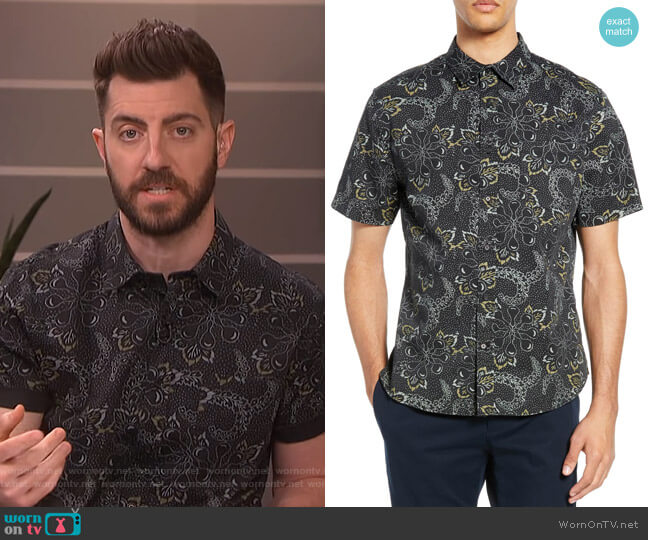 Floral Classic Fit Sport Shirt by Vince worn by Will Marfuggi  on E! News