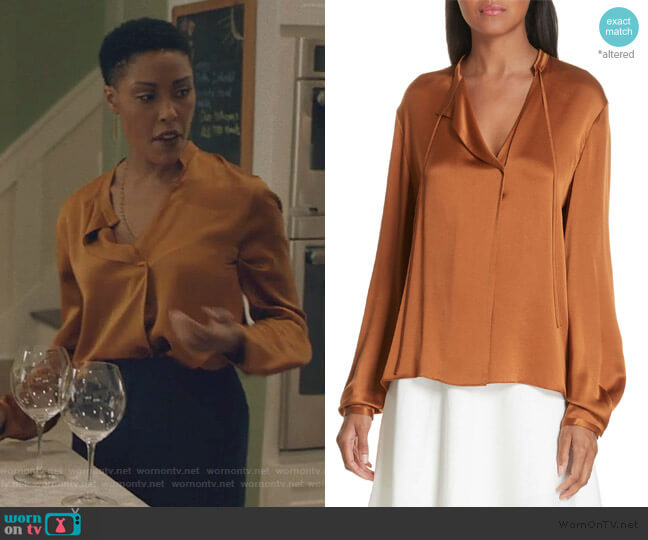 Tie Neck Silk Popover Blouse by Vince worn by Lynn Stewart (Christine Adams) on Black Lightning