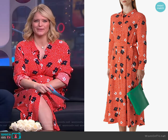 Confetti Floral Shirt Dress by Whistles worn by Sara Haines  on Good Morning America