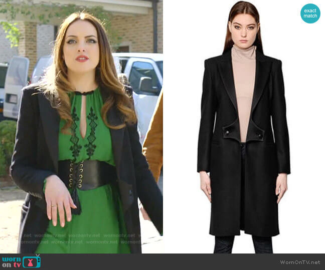 Wool Coat with Satin Lapels by Pierre Balmain worn by Fallon Carrington (Elizabeth Gillies) on Dynasty