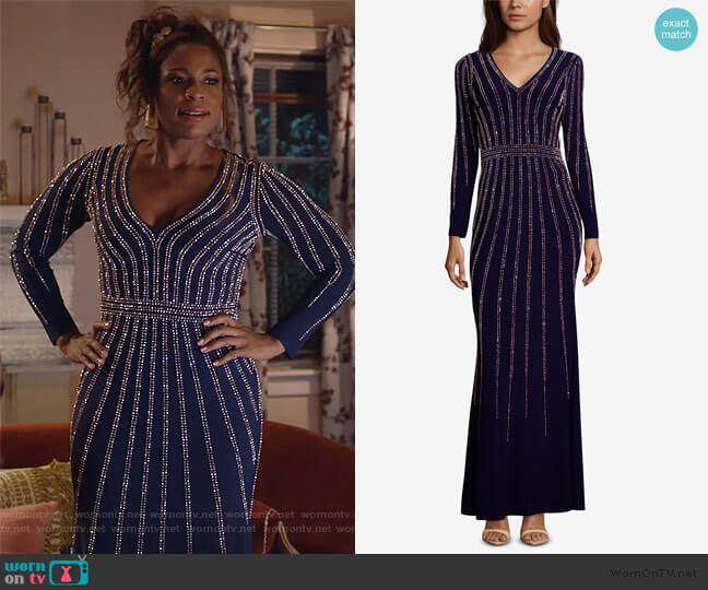 Vertical-Embellished Evening Gown by Xscape worn by Poppy (Kimrie Lewis) on Single Parents