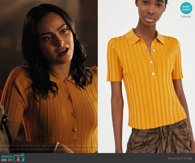Zara Ribbed Polo Shirt worn by Veronica Lodge (Camila Mendes) on Riverdale