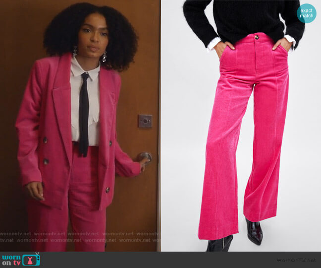 Velveteen Pants by Zara worn by Zoey Johnson (Yara Shahidi) on Grown-ish
