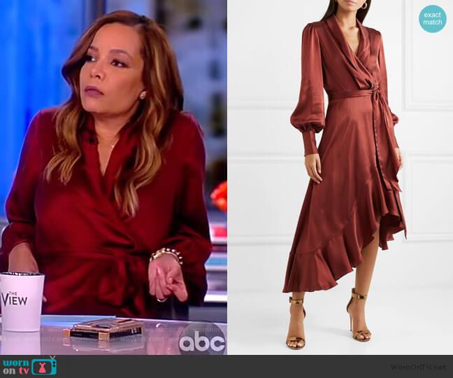 Ruffled silk-satin wrap dress by Zimmermann worn by Sunny Hostin  on The View