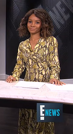 Zuri's yellow snake print wrap dress on E! News