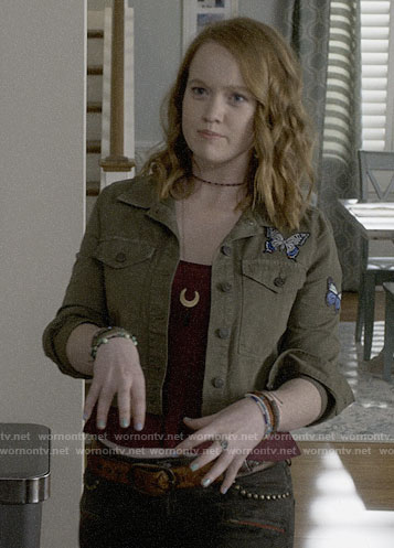 Abby's butterfly patch army jacket and camo jeans on Santa Clarita Diet