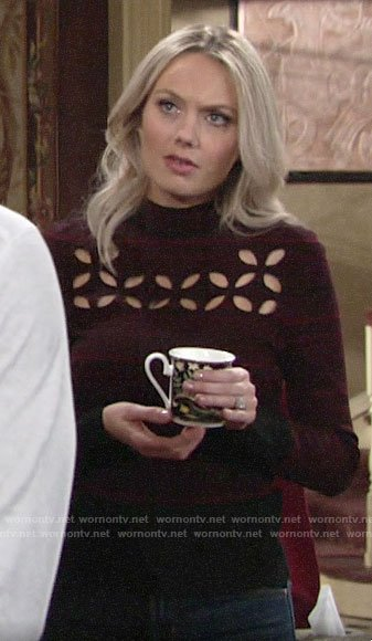 Abby's dark red cutout eyelet sweater on The Young and the Restless