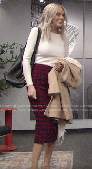 Abby's white sweater and red gingham check pencil skirt on The Young and the Restless