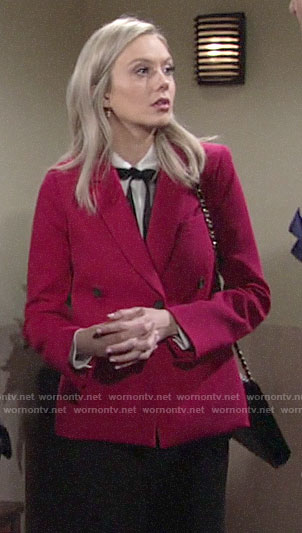Abby's pink blazer and white tie neck top on The Young and the Restless