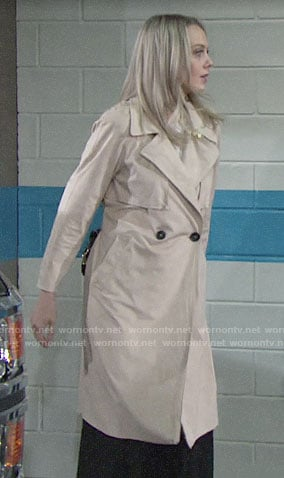 Abby's trench coat on The Young and the Restless