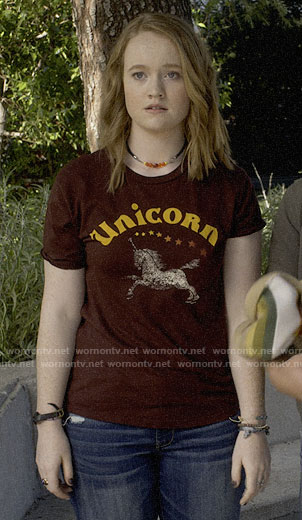 Abby's unicorn tee on Santa Clarita Diet