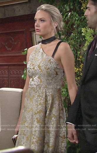 Abby's yellow floral dress at Summer's wedding on The Young and the Restless