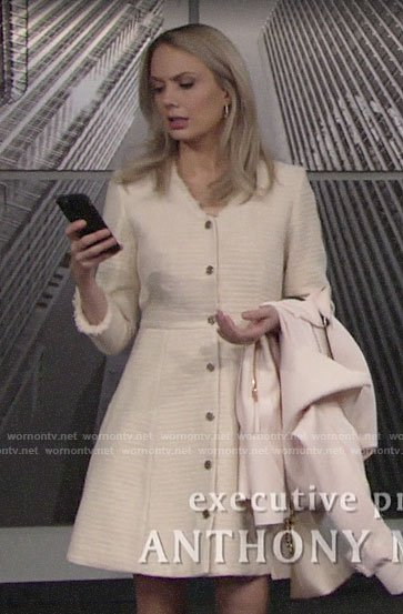 Abby's tweed buttoned front dress on The Young and the Restless