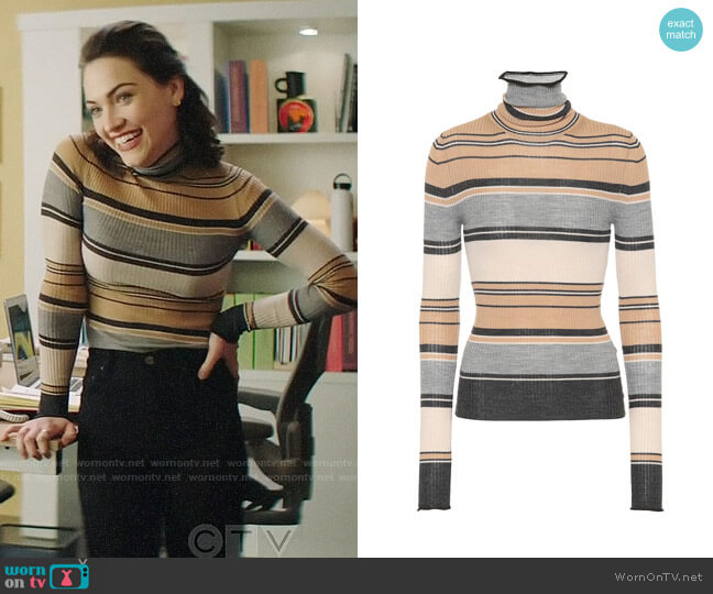 Acne Striped Turtleneck Knit Top worn by Cara Bloom (Violett Beane) on God Friended Me
