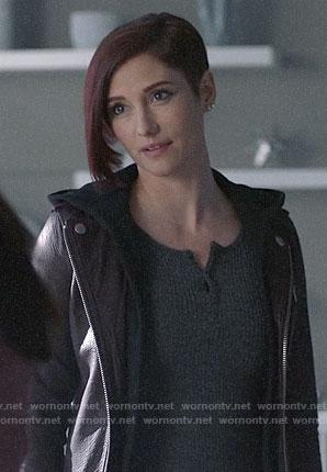 Alex's purple leather hooded moto jacket on Supergirl