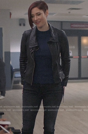 Alex's blue side-tie sweater and leather jacket on Supergirl
