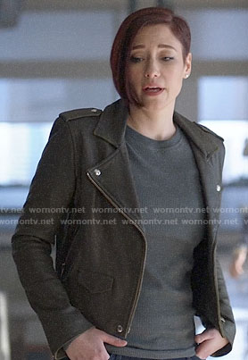 Alex's leather moto jacket on Supergirl