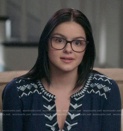 Alex's navy embroidered trim top on Modern Family