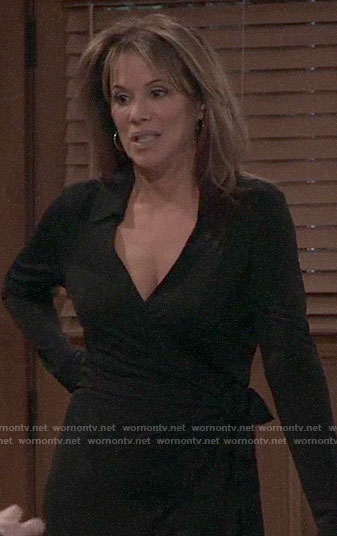 Alexis's black collared wrap dress on General Hospital