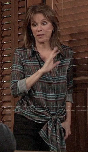 Alexis's plaid tie-front shirt on General Hospital