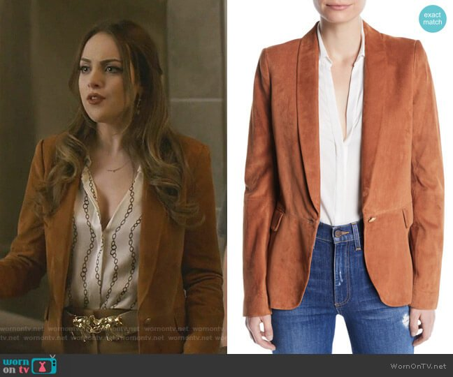 Macey Suede Shawl-Collar Blazer by Alice + Olivia  worn by Fallon Carrington (Elizabeth Gillies) on Dynasty