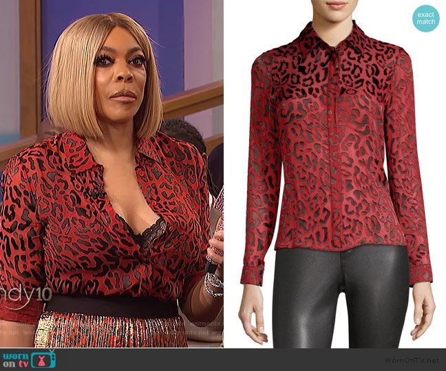 Willa Placket Leopard Print Blouse by Alice + Olivia worn by Wendy Williams  on The Wendy Williams Show